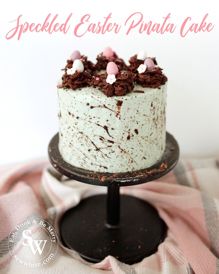 The Speckled Easter Pinata Cake with chocolate nests and sprinkles