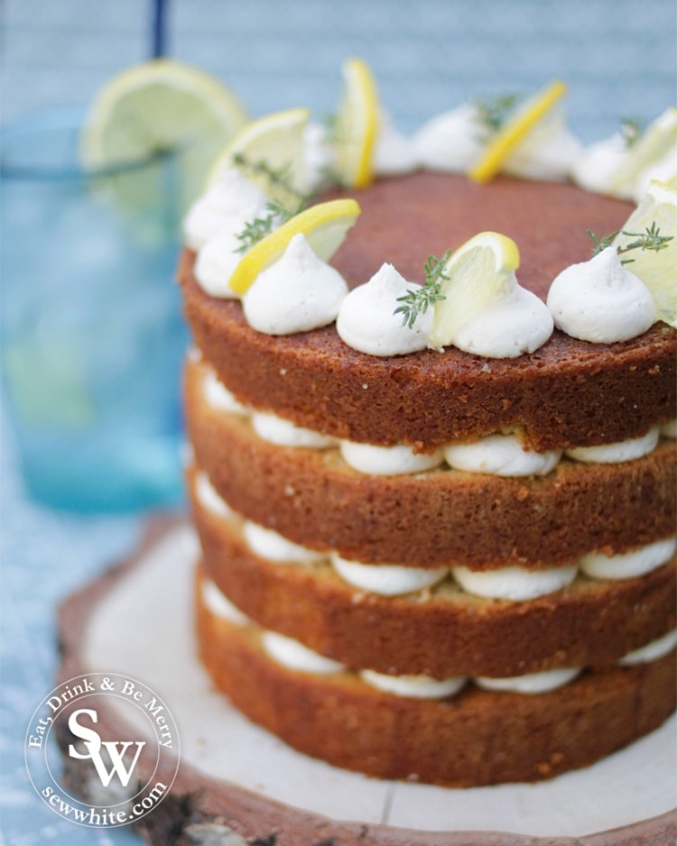 naked cake, layer cake with lemon and gin. Drizzled gin cocktail cake