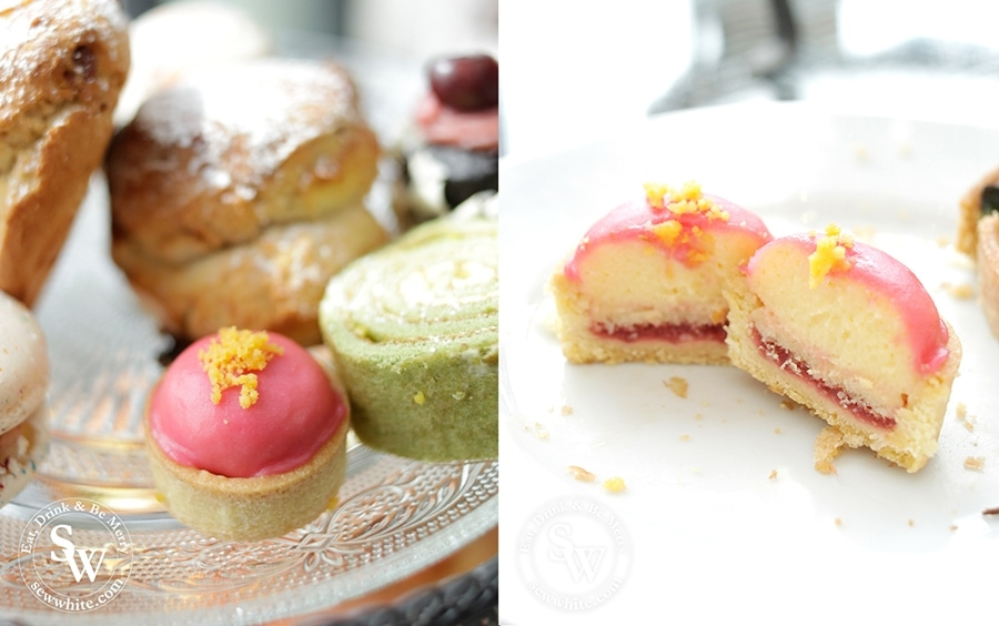The cutest little raspberry pastries at the Afternoon Tea at Hotel Du Vin
