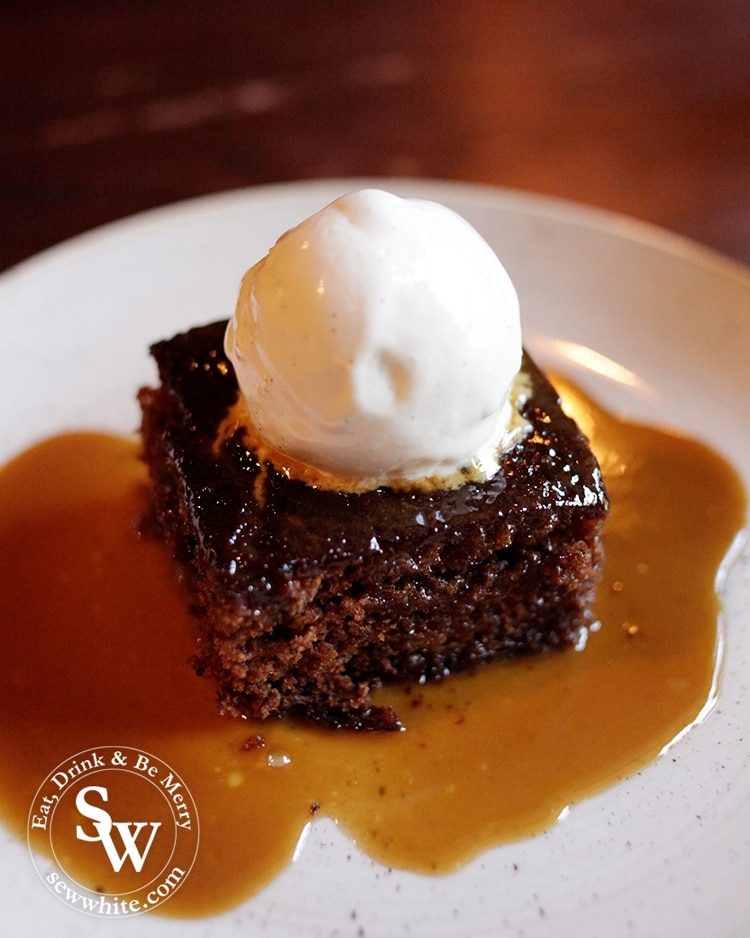 A soft sponge with a ball of ice cream on. A rich and golden sticky toffee pudding.
