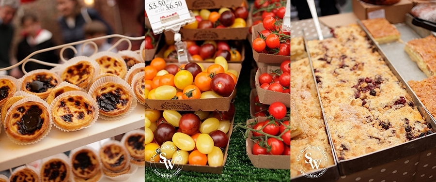 A range of food available at the Wimbledon Village Farmers' Market including Portuguese tarts, tomatoes and cake.