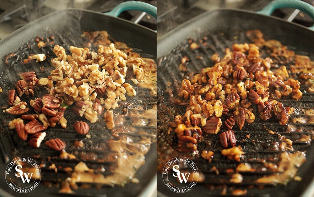 Toasting and caramelising pecans and walnuts with maple syrup in a le creuset cast iron grill pan.