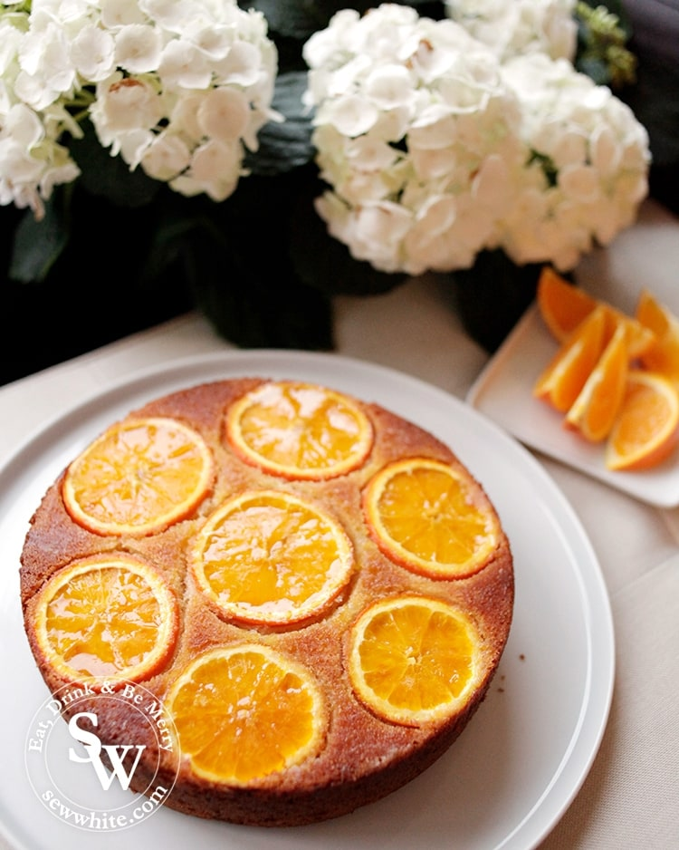Orange upside down cake fresh out of the oven best served warm.