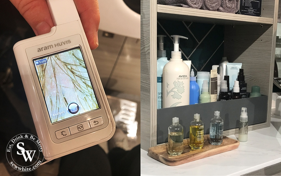 Scalp check at Gina Conway Blow Dry Bar. Looking at the scalp close up to see what the best products would be for your scalp and hair.