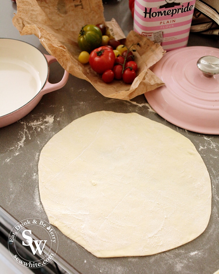Rolling out the dough for the Puff Pastry Tomato Tart.