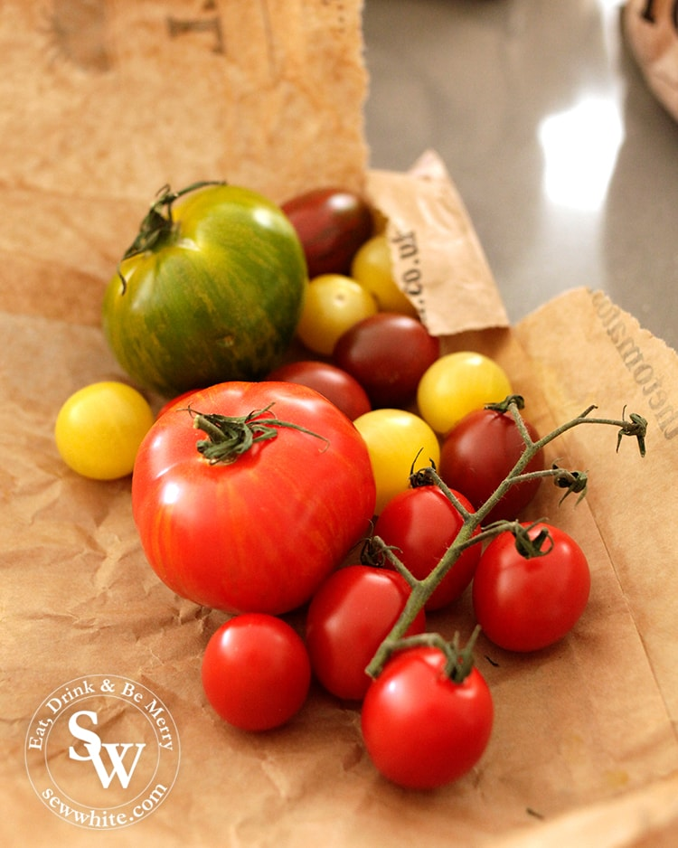 A selection of beautiful tomatoes from the Isle of Wight tomato company. Vine ripened red tomatoes, cherry tomatoes, tiger tomatoes and buffalo tomatoes