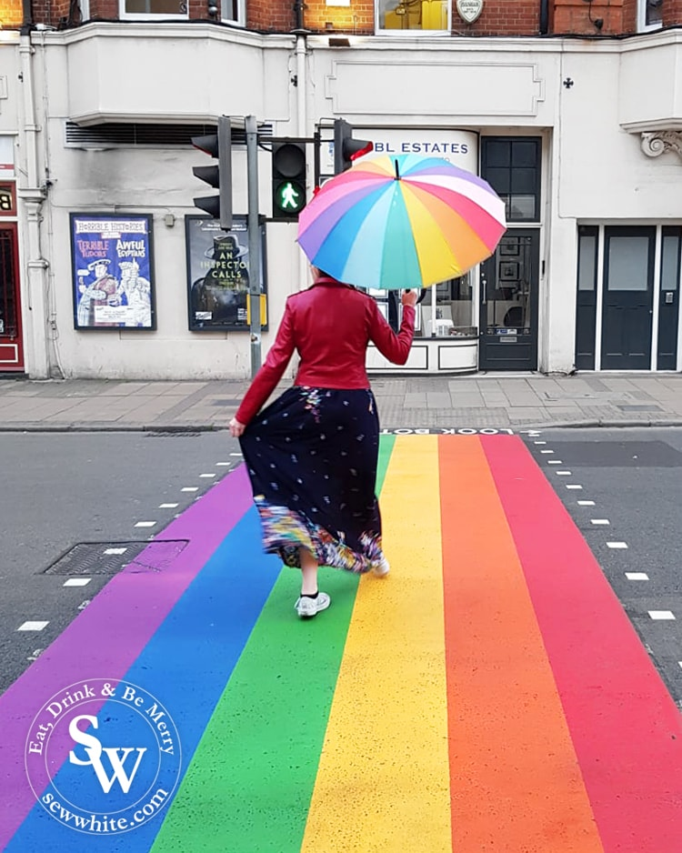The rainbow crossing on Wimbledon Broadway to celebrate LGBTQ+ for pride month.