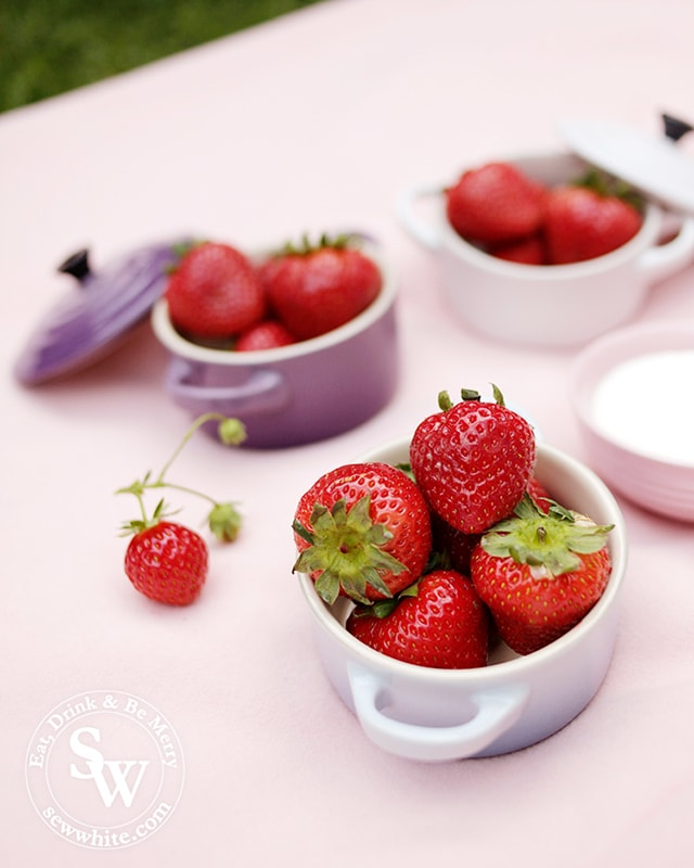 Le Creuset petite casseroles in pastel colours filled with strawberries for a perfect Wimbledon finals party.