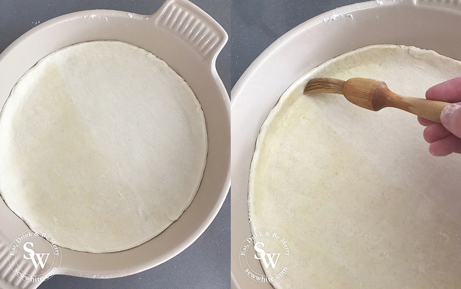 How to prepare the puff pastry for the Balsamic Vanilla Strawberry Tart in the round le creuset stoneware oven proof dish.