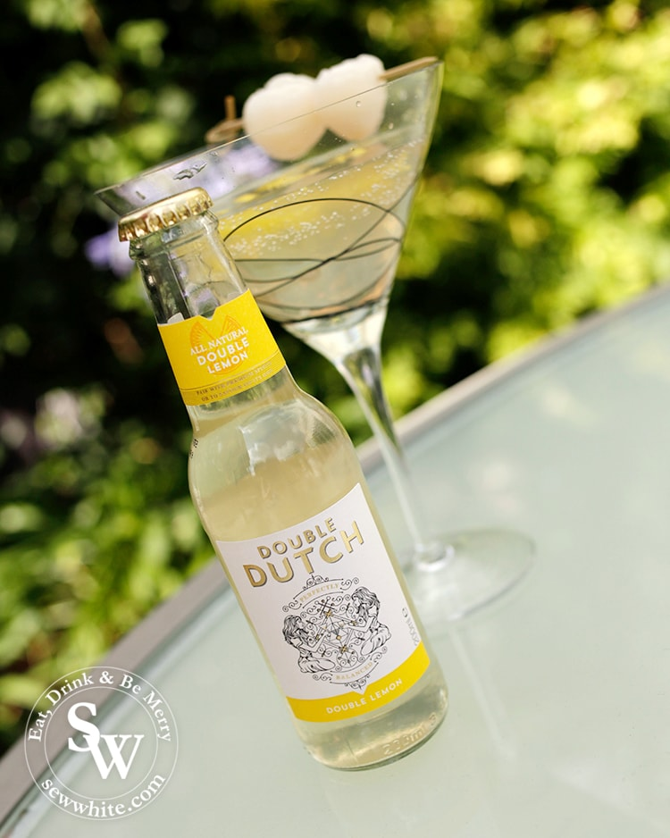 Double Dutch premium mixer recipe with lychees and fresh lemon.