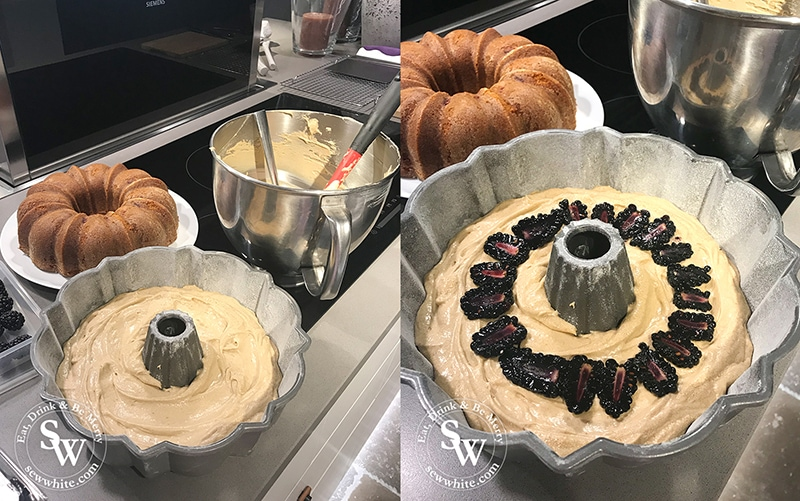Autumn launch party weekend at Neptune Wimbledon. Cakes being made with blackberries and a bundt cake.