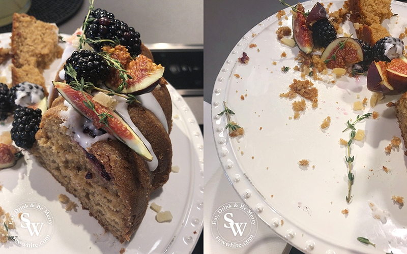 the last crumbs of the autumn ginger and blackberry spiced bundt cake decorated with figs and blackberries and fresh thyme.