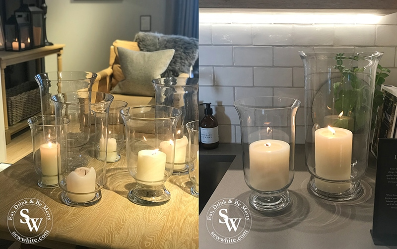Neptune Wimbledon autumn inspiration with candles and glass vases of different heights in the kitchen and living room