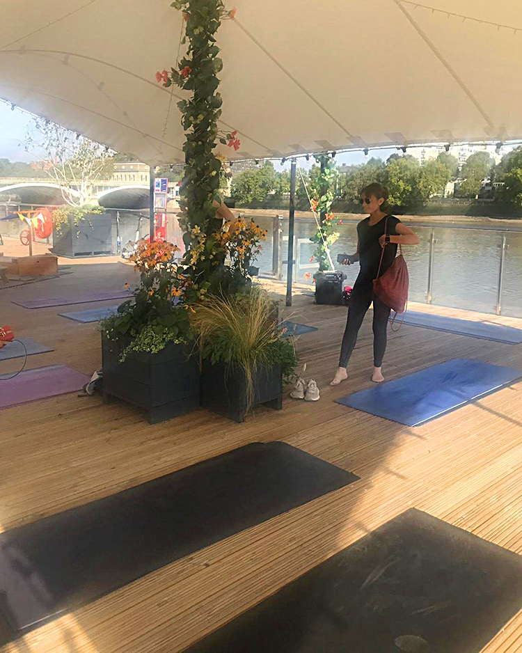 Battersea Power Station Events PT Pilates on the coal jetty of the River Thames