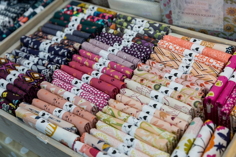 Shopping for fat quarters at the Knitting and Stitching Show Alexandra Palace October