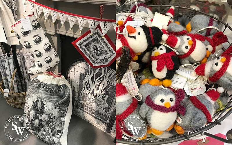 Christmas interiors and decorations from the Spirit of Christmas fair. Penguin felt decorations.