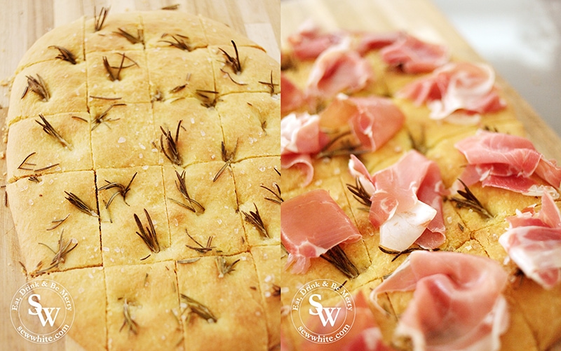 Freshly baked focaccia studded with rosemary and topped with Parma Ham.