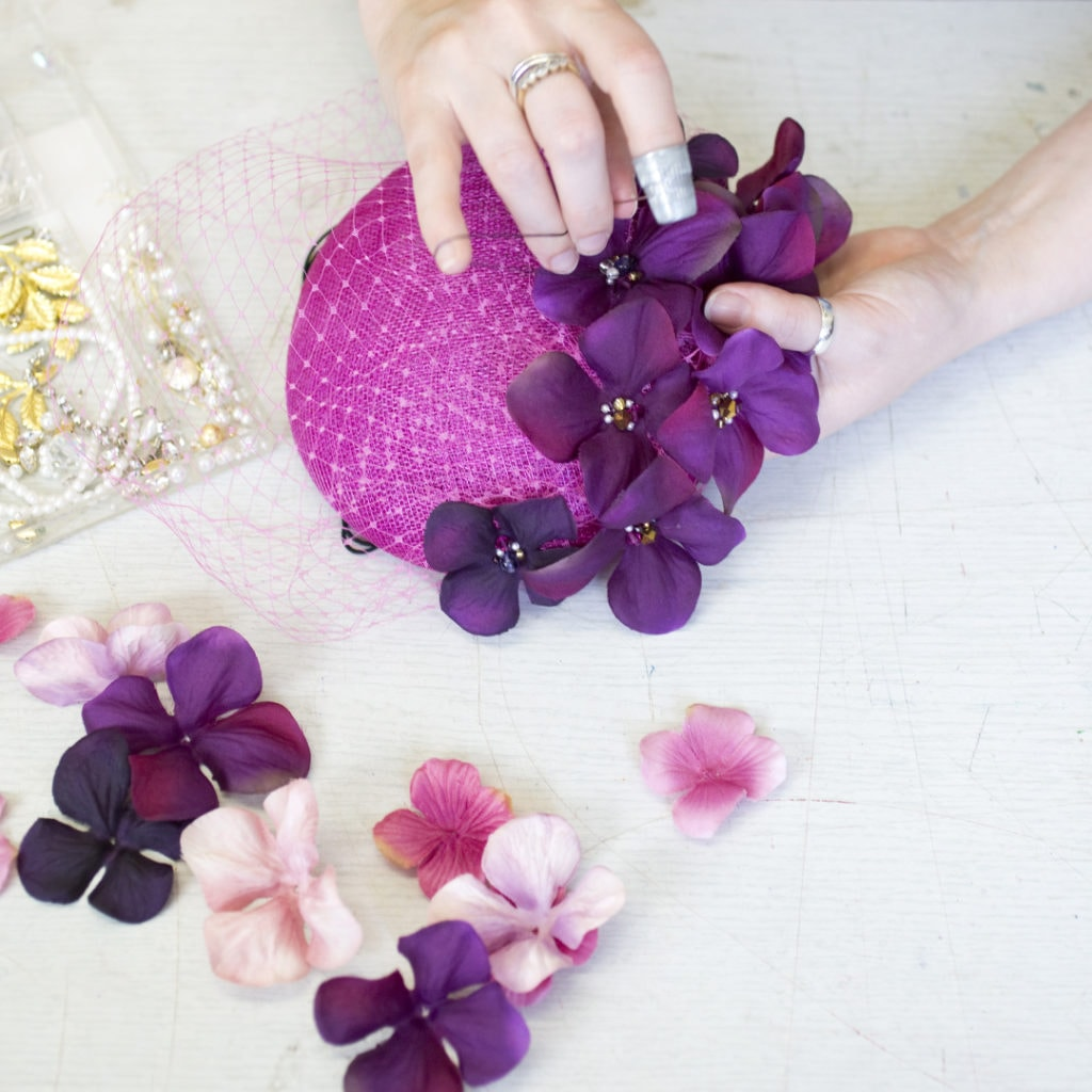 Hand making hats with milliner Bee Smith