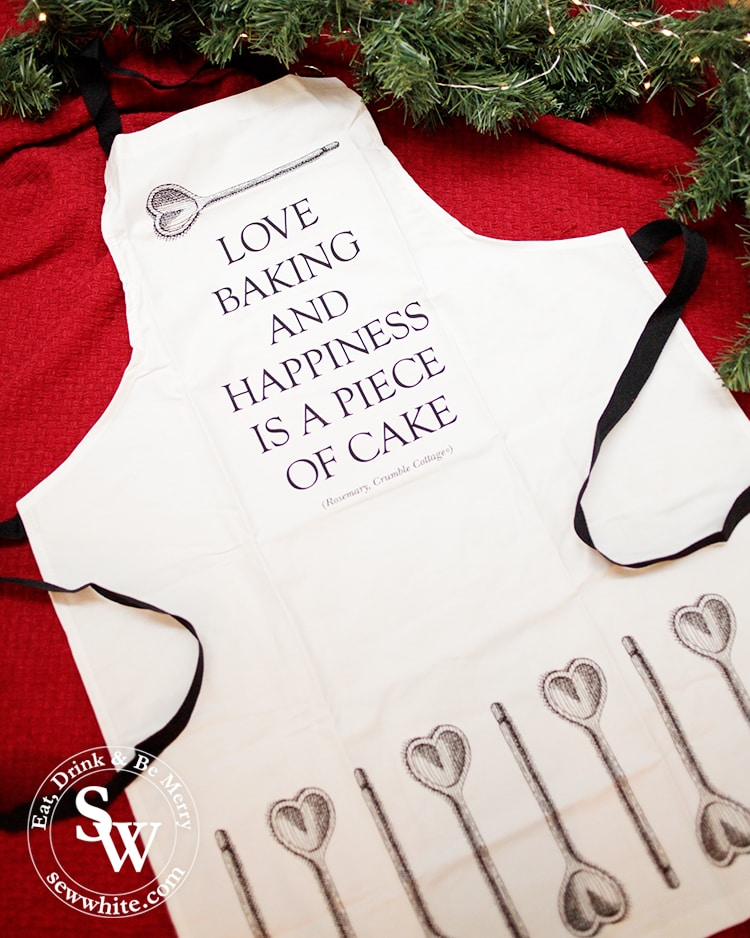 Love baking and happiness is a piece of cake apron from Crumble cottage in The Top 5 Lifestyle Gifts for Christmas