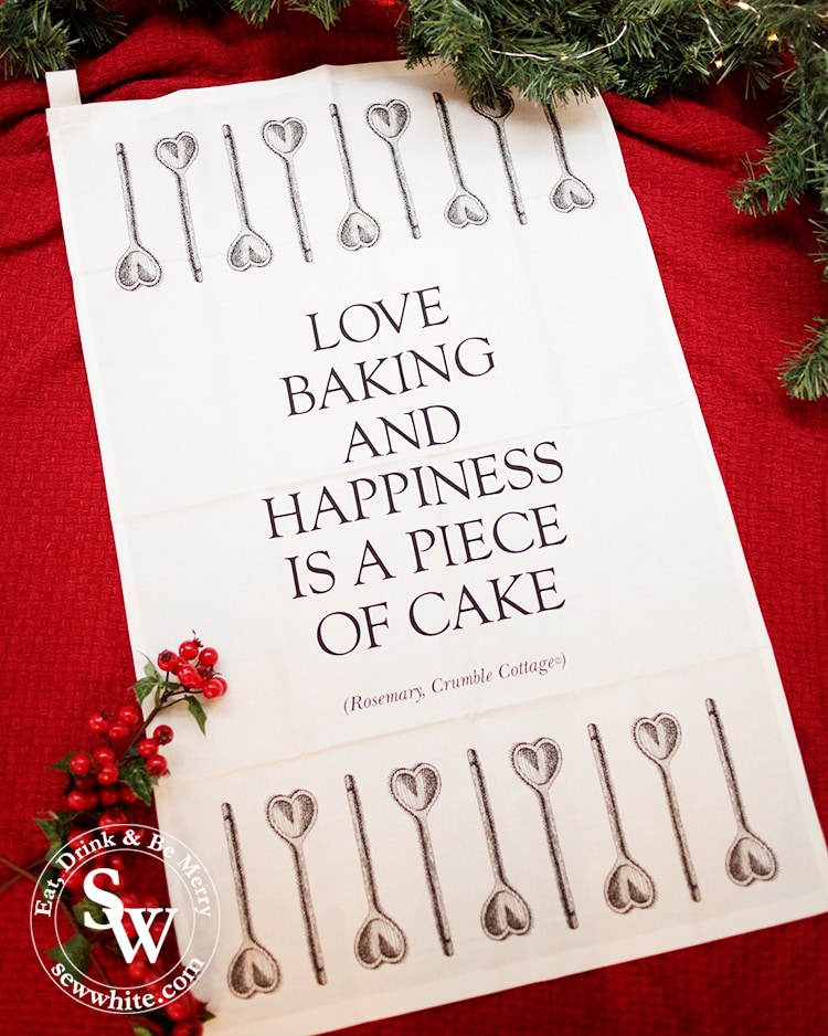 Baking quote tea towel from crumble cottage for The Top 5 Lifestyle Gifts for Christmas