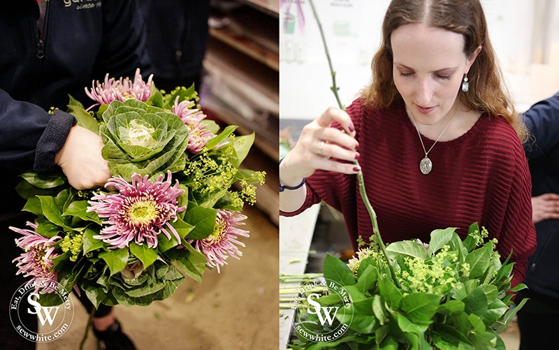 Sisley White learning how to make a bouquet with Gardenia of London