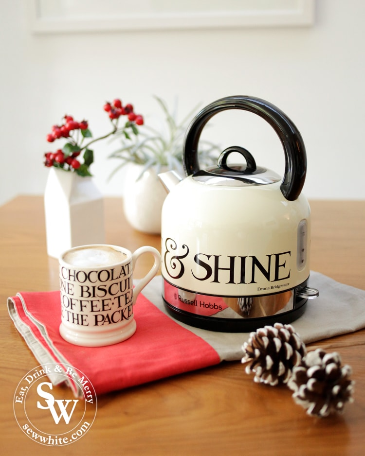 Russell Hobbs and Emma Bridgewater collaboration kettle with  rise and shine written on it in The Top 5 Lifestyle Gifts for Christmas. Perfect Chistmas breakfast.