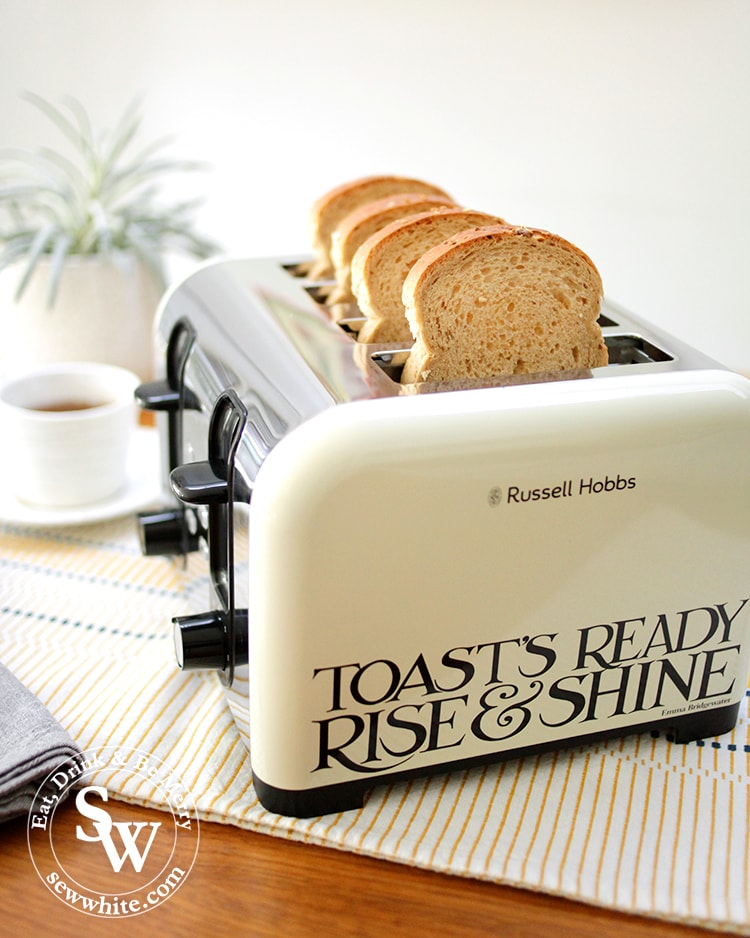 Russell Hobbs and Emma Bridgewater collaboration toaster with toast's ready rise and shine written on it in The Top 5 Lifestyle Gifts for Christmas.