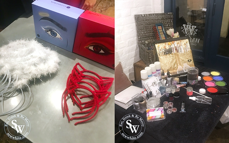 Whittard Glossy Box Halloween Party dress up area of angels and devils.