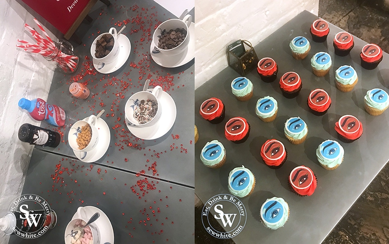 Hot chocolate toppings station and glossybox cupcakes at the Whittard Glossy Box Halloween Party