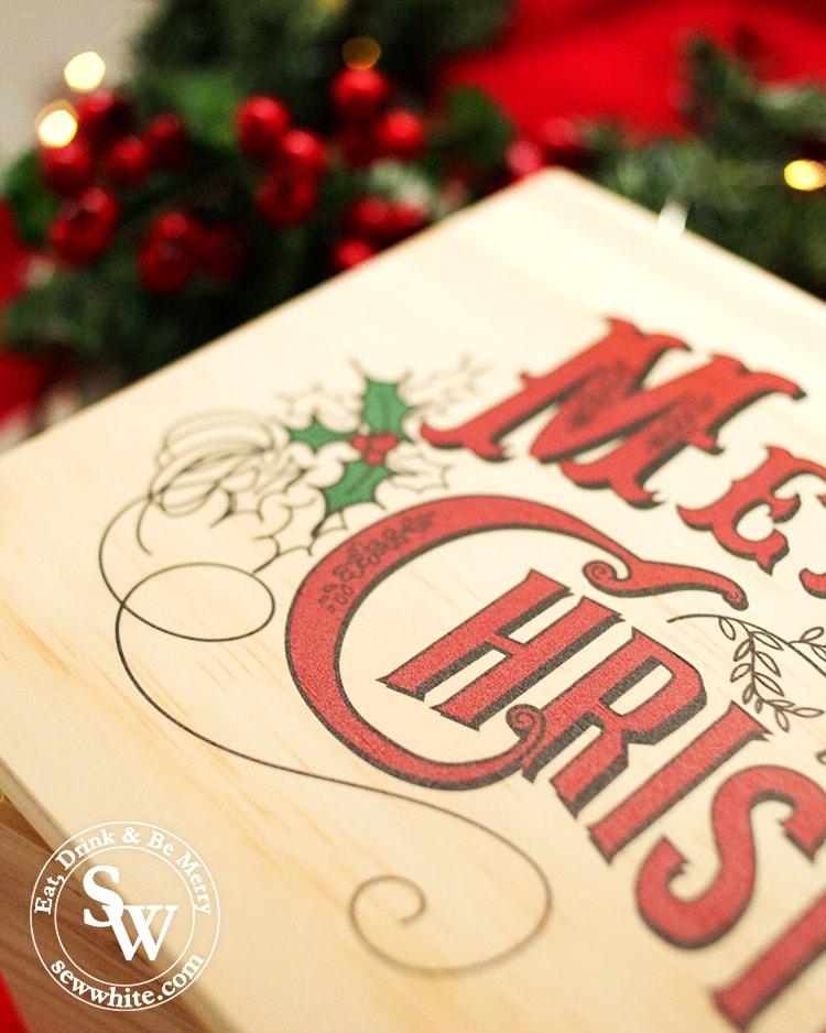 close up of the christmas box printing from santa sacks