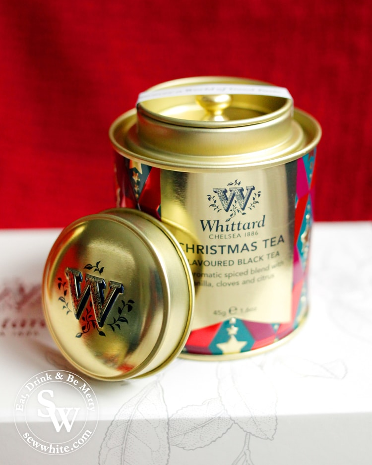 Whittard Christmas tea in a gold and red caddy on the Top 5 Drinks for Christmas 2019