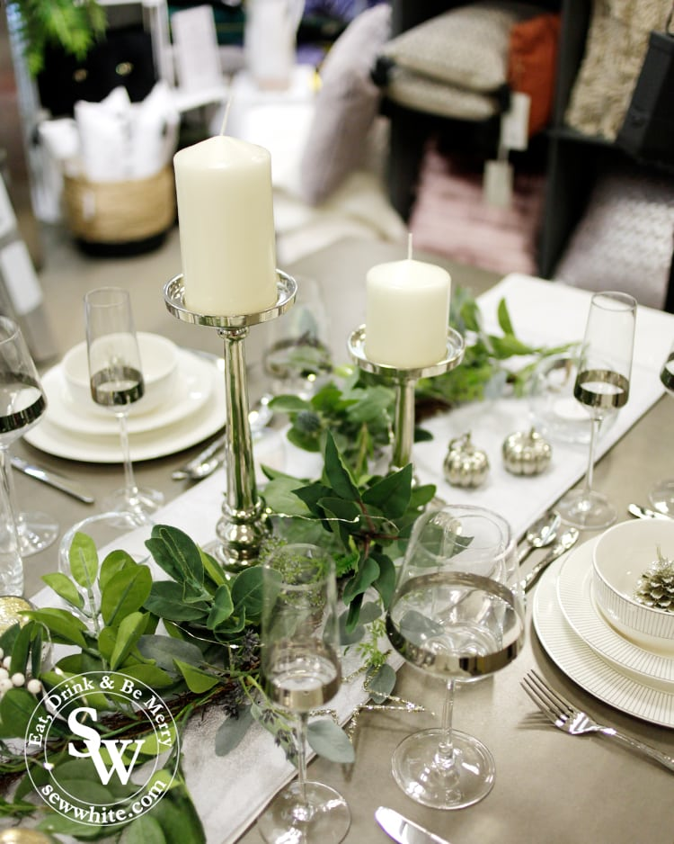 Silver Christmas Table Inspiration with green white company garland and lsa silver band table setting.