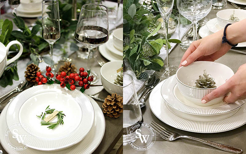 Setting the table for the Silver Christmas Table Inspiration post