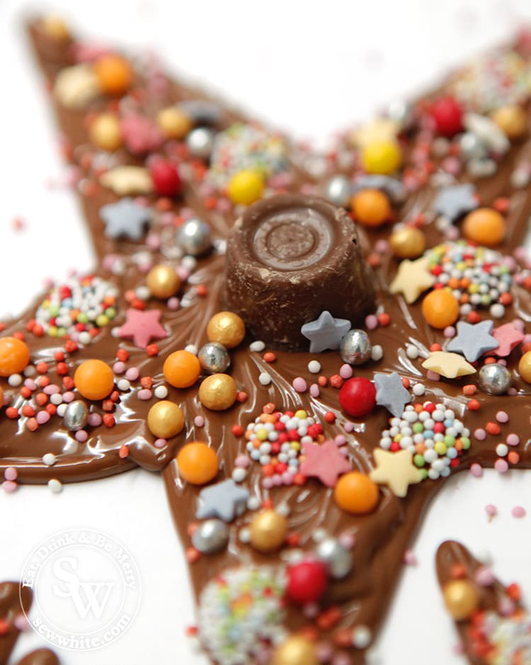 A close up of the chocolate and sprinkles on the Chocolate Star Christmas Tree