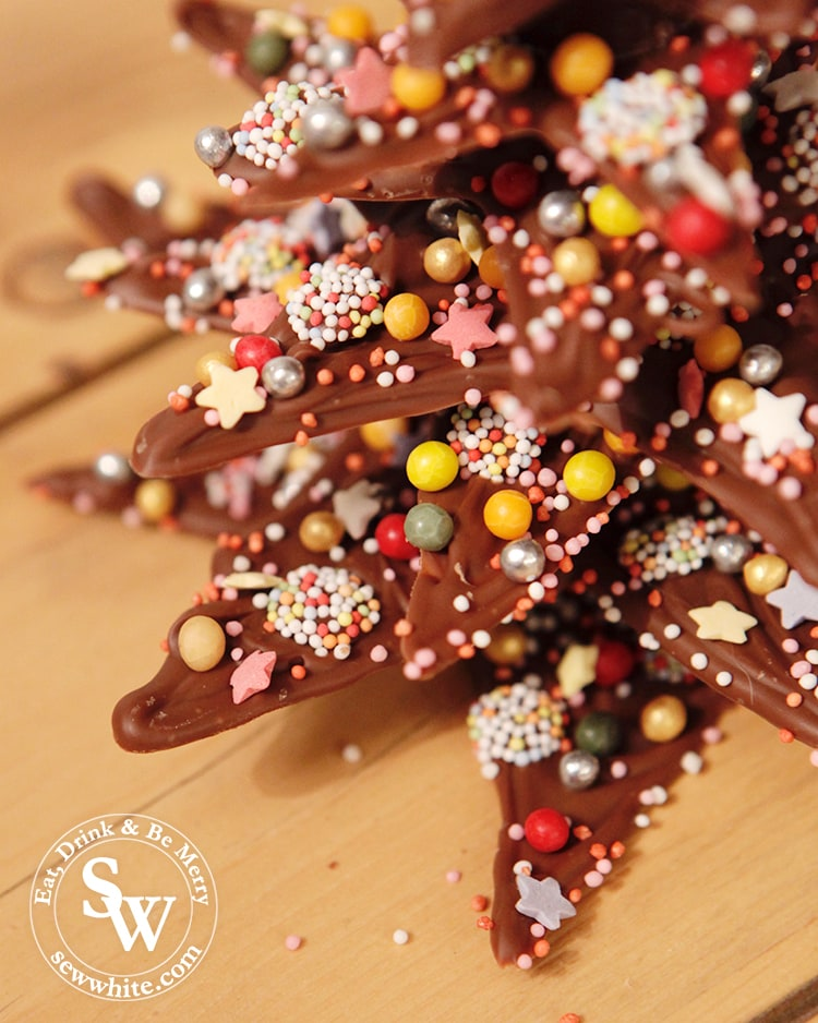 Chocolate Star Christmas Tree covered in sprinkles