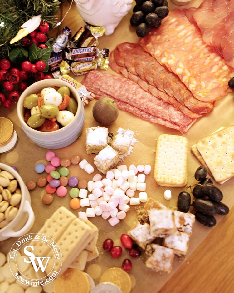 sweet and savoury choices on the Christmas graze table