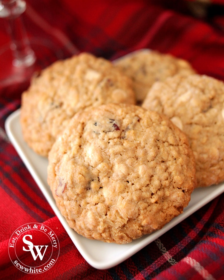 gold brown and freshly baked Cranberry and White Chocolate Cookies
