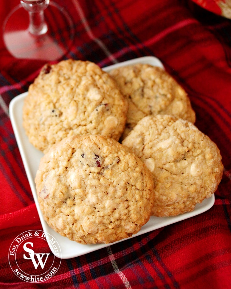 close up of the golden brown Cranberry and White Chocolate Cookies