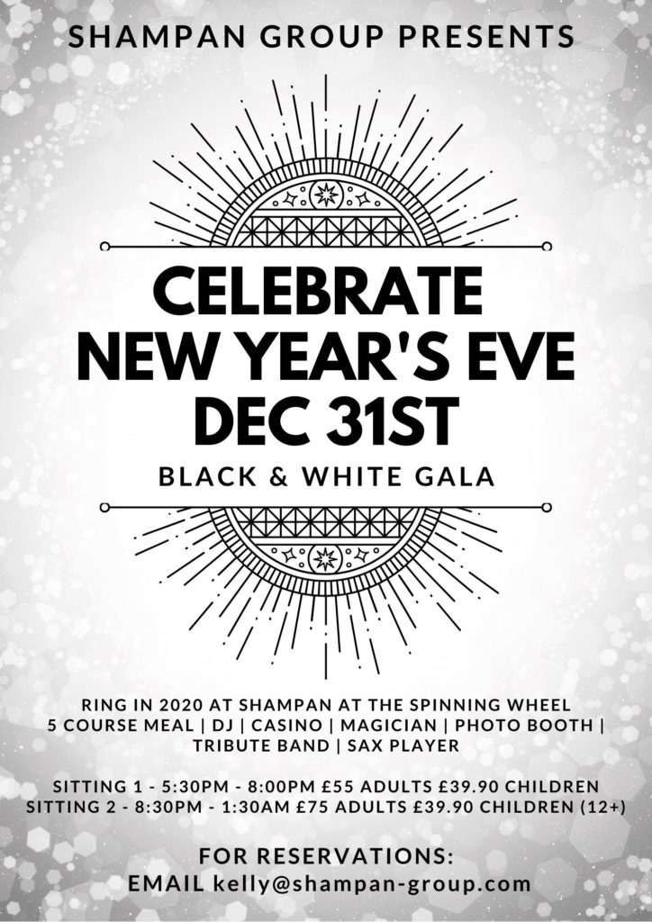 celebrate New Years eve at the Shampan at the spinning wheel in kent with celebrity chef Abdul Yassen