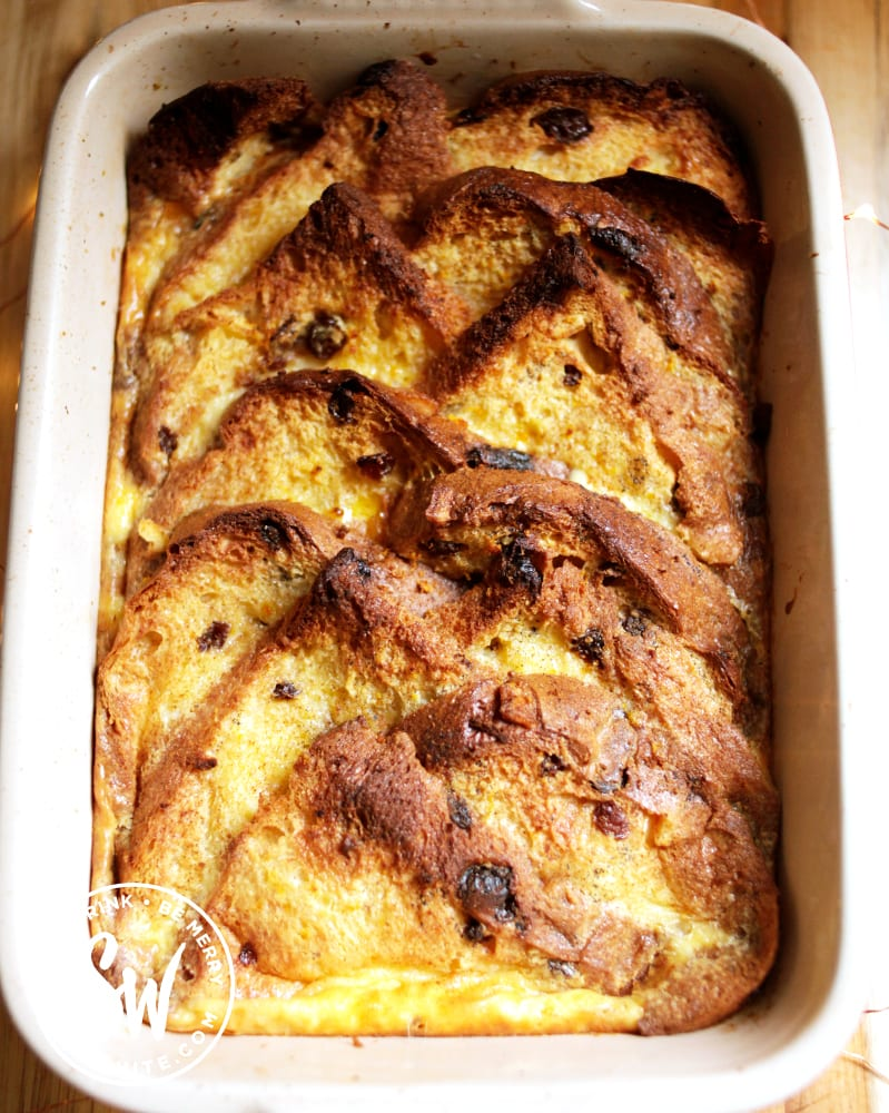 Golden baked Panettone Bread and Butter Pudding fresh out of the oven.