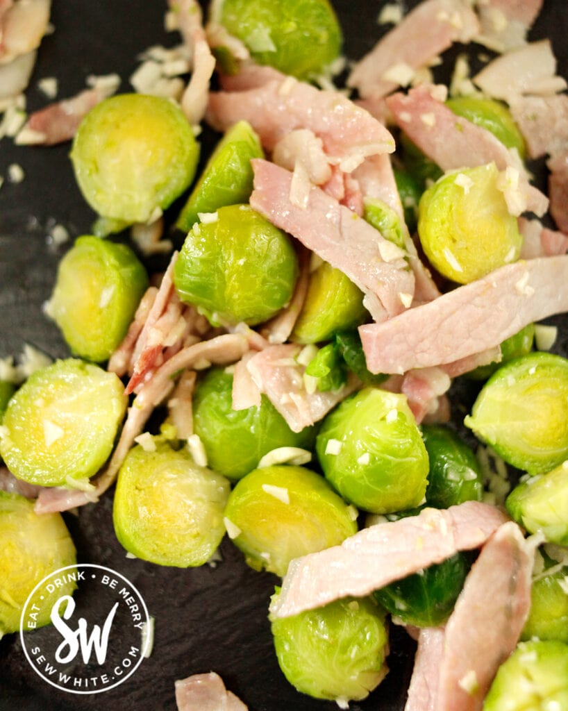 garlic pan fried with sprouts and bacon
