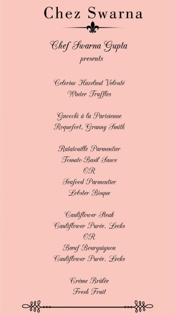 Chef Swarna Gupta menu for the french supperclub.