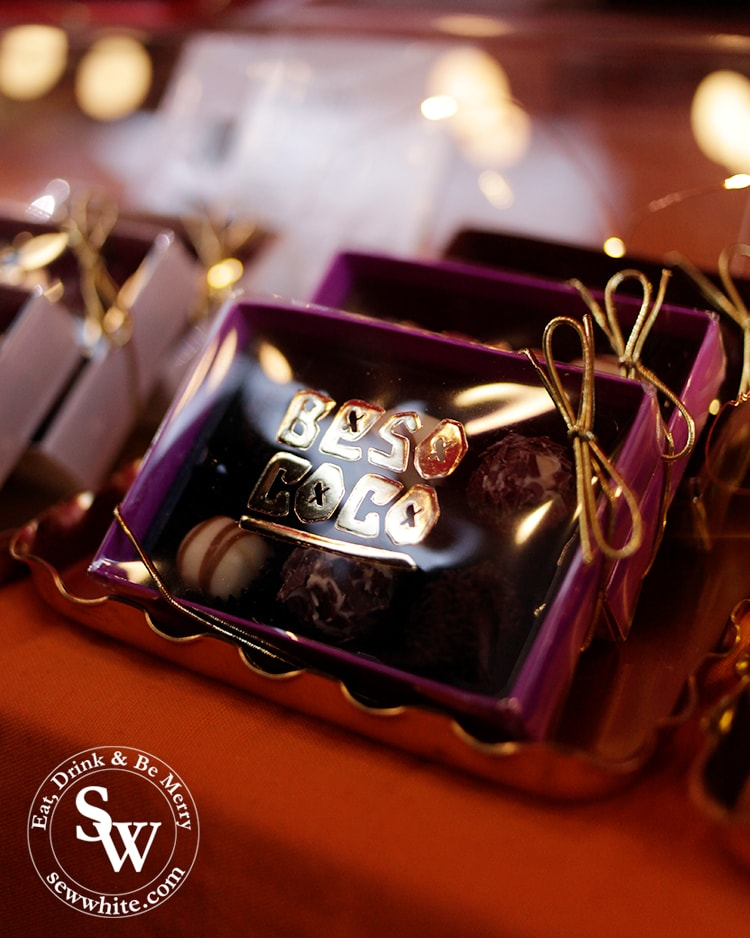 Beso Coco chocolates in their deep purple box with gold lettering.