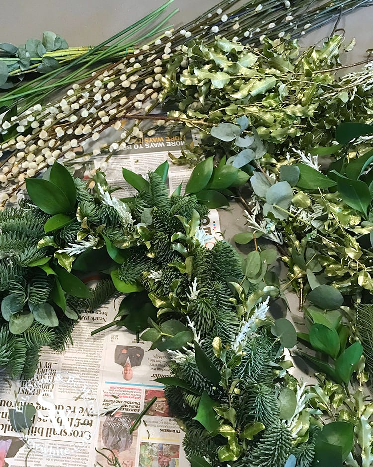 A range of greenery for the Christmas wreath including fir tree, eucalyptus and pussy willow.