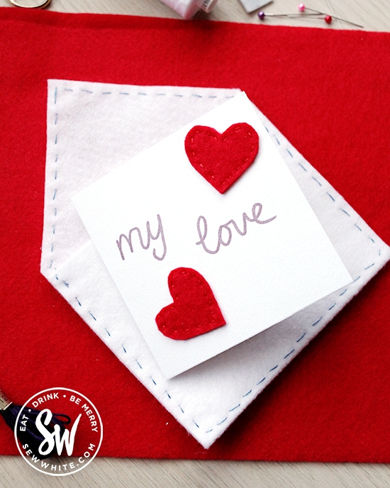 The finished felt envelope with felt heart card to send on Valentines Day