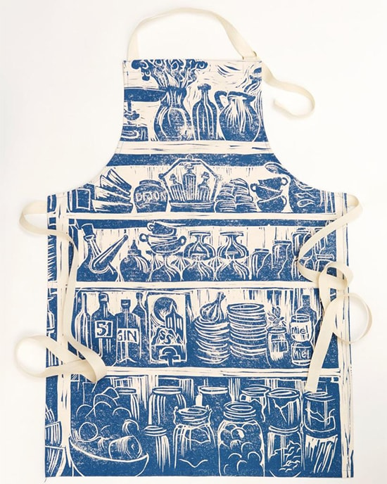 Lino print apron with pantry food and drink illustration