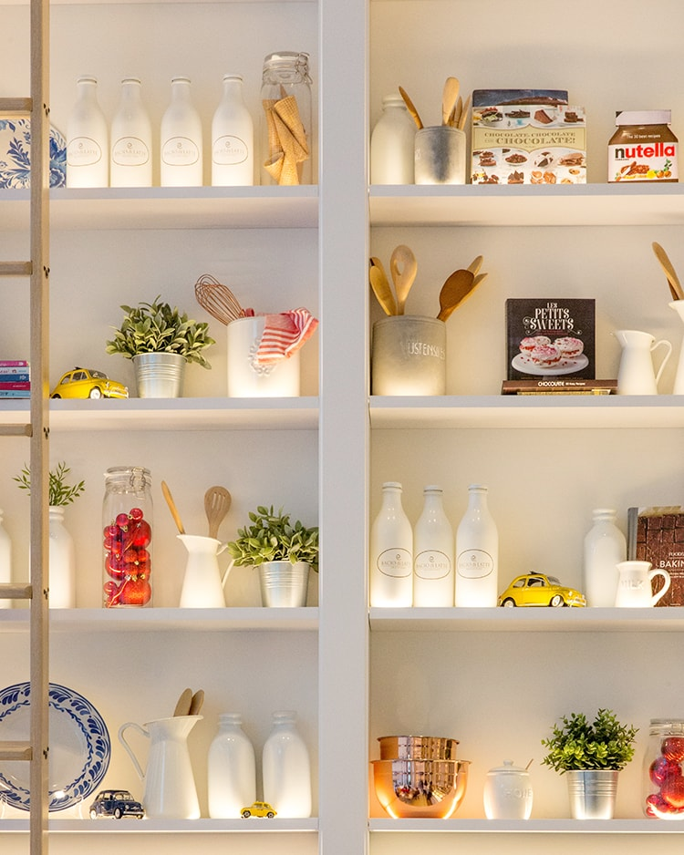 Gorgeous white light up pantry for the Coronavirus Pantry Recipes page on Sew White