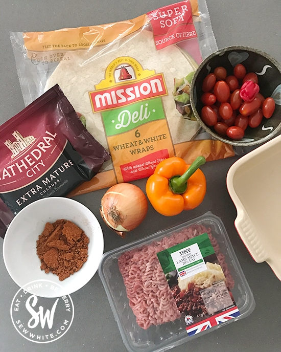 All the ingredients you need for the Fajita Traybake Mexican Lasagne