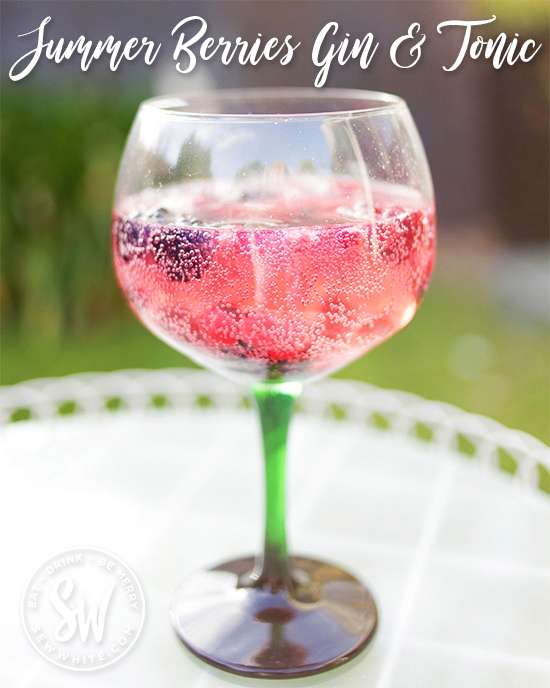 Summer Berries gin an tonic. An easy make at home gin and tonic using summer berries from the freezer. Takes 5 minutes and is brilliant for summer days, birthday party cocktails and summer parties