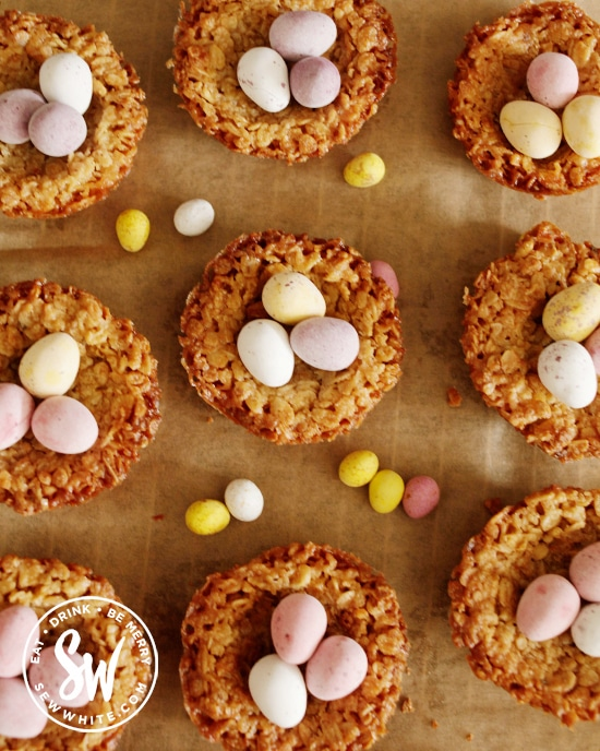 Flapjacks made to look like Easter Nests and topped with mini eggs. Flapjack Easter Nests
